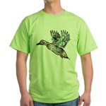 Art Nouveau Mallard Duck Green T-Shirt