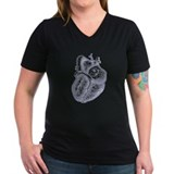 Anatomical heart Womens V-Neck T-shirts (Dark)