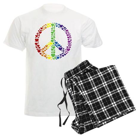 Rainbow Hearts Peace Men's Light Pajamas