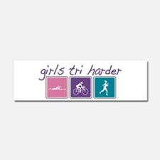 Girls Tri Harder Car Magnet 10 x 3