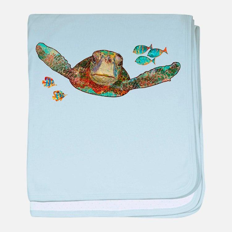 Flying Sea Turtle baby blanket