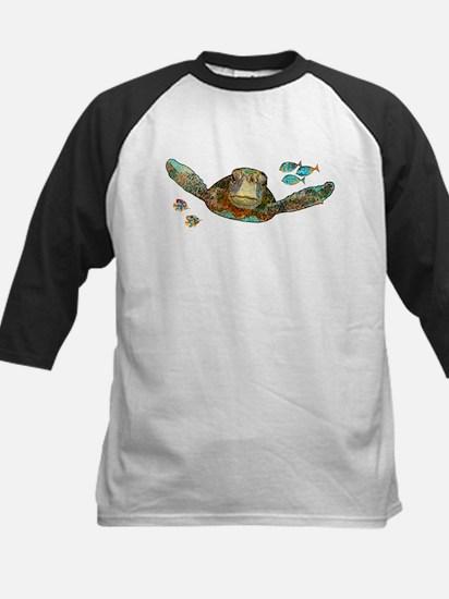 Flying Sea Turtle Kids Baseball Jersey