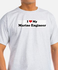 I Love Marine Engineer Ash Grey T-Shirt
