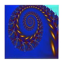 """""""Copper on Blue"""" Fractal Art Tile Coaster"""