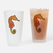 Orange Seahorse Drinking Glass