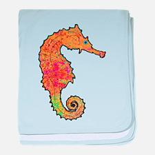 Orange Seahorse baby blanket