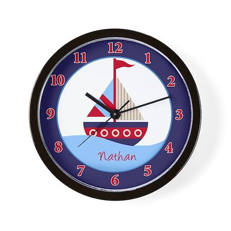 Little Sailboat Navy/Red Wall Clock - Nathan