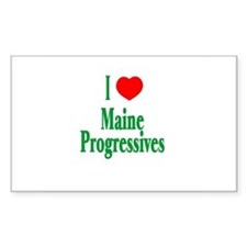 I Love Maine Progressives Rectangle Decal