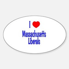 I Love Massachusetts Liberals Oval Decal