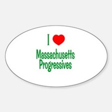 I Love MA Progressives Oval Decal