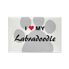 I Love My Labradoodle Rectangle Magnet