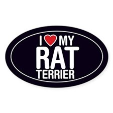 I Love My Rat Terrier Oval Sticker/Decal