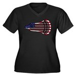 Lacrosse FlagHead Women's Plus Size V-Neck Dark T-