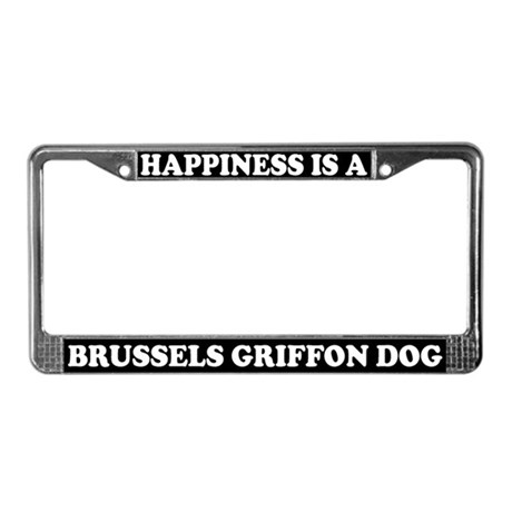 Happiness Is Brussels Griffon License Plate Frame