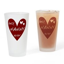 Heart Best Nanny Ever Drinking Glass