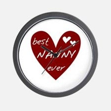 Heart Best Nanny Ever Wall Clock