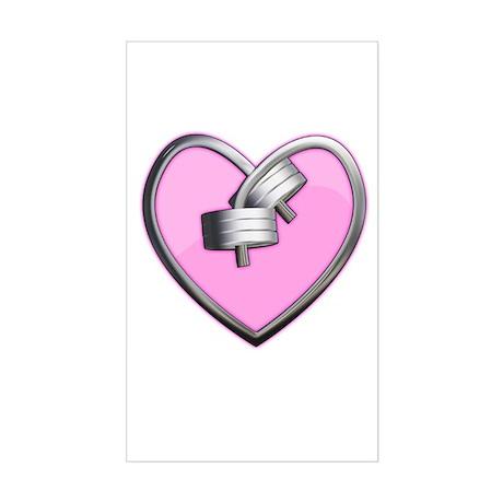 Barbell Heart (pink) Sticker (Rectangle)