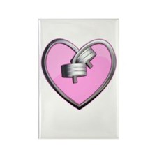 Barbell Heart (pink) Rectangle Magnet