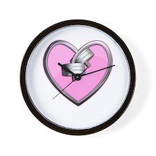 Barbell Heart (pink) Wall Clock