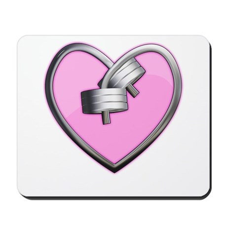 Barbell Heart (pink) Mousepad