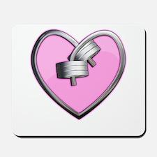 Barbell Heart (pink) Mousepad