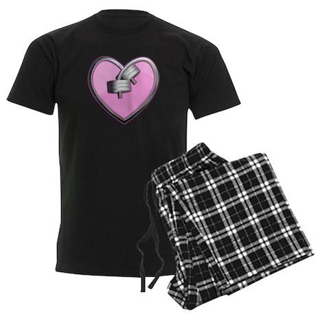 Barbell Heart (pink) Men's Dark Pajamas