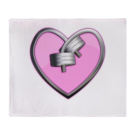 Barbell Heart (pink) Throw Blanket