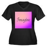 Imagine Pink Women's Plus Size V-Neck Dark T-Shirt