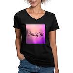 Imagine Pink Women's V-Neck Dark T-Shirt