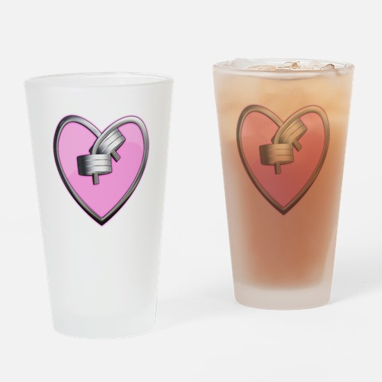 Barbell Heart (pink) Drinking Glass
