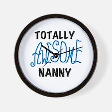 Blue Awesome Nanny Wall Clock