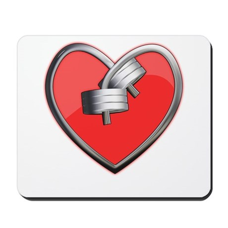 Barbell Heart (red) Mousepad