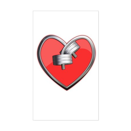 Barbell Heart (red) Sticker (Rectangle)