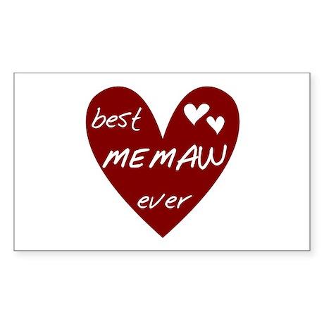 Heart Best Memaw Ever Sticker (Rectangle)