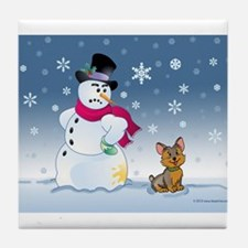 Yorkshire Terrier and SnowmanTile Coaster