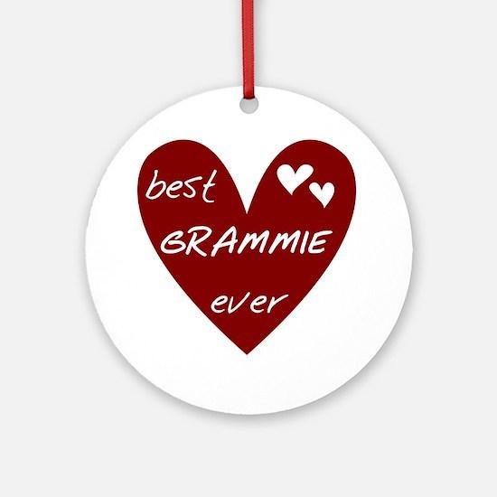Heart Best Grammie Ever Ornament (Round)
