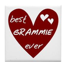 Heart Best Grammie Ever Tile Coaster