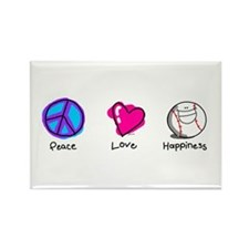Peace Love and Baseball Rectangle Magnet