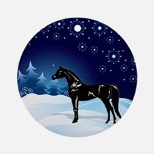 Black Arabian Horse Ornament (Round)