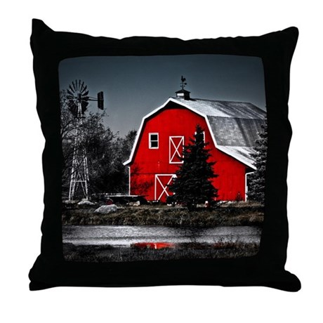 VIBRANT RED BARN Throw Pillow