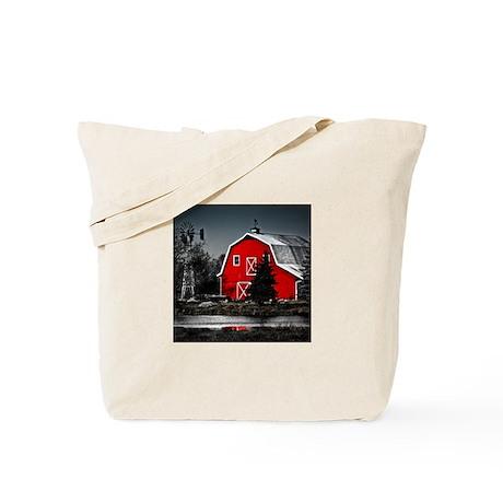 VIBRANT RED BARN Tote Bag