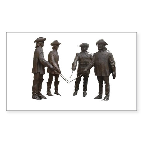 4 Musketeers Clear Bckg. Sticker (Rectangle 10 pk)