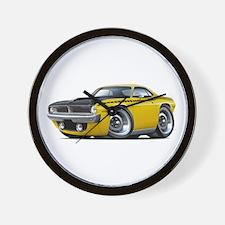 1970 AAR Cuda Yellow Car Wall Clock