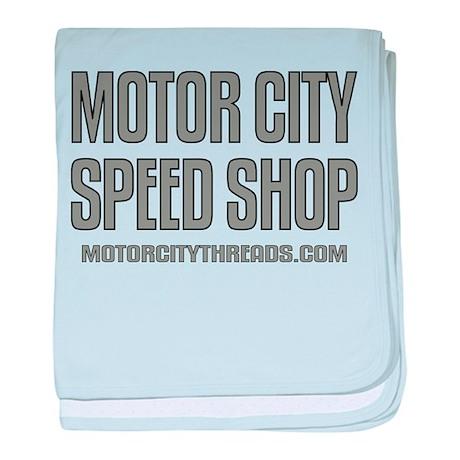 Motor City Speed Shop Logo baby blanket
