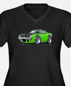 1970 AAR Cuda Lime Car Women's Plus Size V-Neck Da