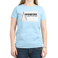 Plane Fun Geometry Women's Pink T-Shirt