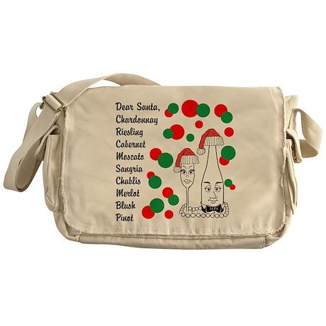 Christmas Wine List Messenger Bag