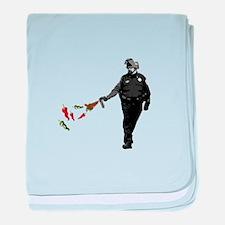 Pepper spray cop baby blanket