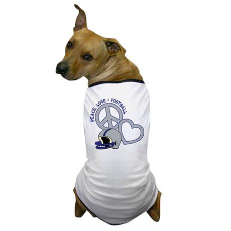 Peace, Love, Football Dog T-Shirt