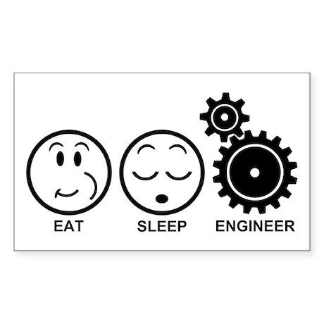 Eat Sleep Engineer Sticker (Rectangle)